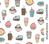 various kawaii food. hand drawn ... | Shutterstock .eps vector #796644904