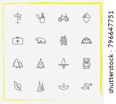 camping line icon set bike ... | Shutterstock .eps vector #796647751