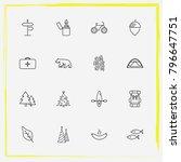 camping line icon set bike ... | Shutterstock .eps vector #796647751