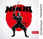 Ninja warrior vector illustration. Silhouette of japanese fighter.