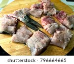 preparing fish for roasting.... | Shutterstock . vector #796664665