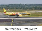 DUSSELDORF, GERMANY - MAY 21: Airplane Boeing 737-800 landed in Dusseldorf airport on May, 21 2011. TUIfly, with its fleet of 38 aircraft, is the third largest airline in Germany - stock photo