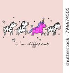 hand drawn funny unicorn with... | Shutterstock .eps vector #796674505