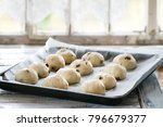 raw unbaked buns. ready to bake ... | Shutterstock . vector #796679377