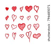 hand drawn hearts. design... | Shutterstock .eps vector #796685071
