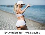 fitness selfie woman self... | Shutterstock . vector #796685251