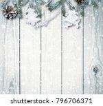 christmas firtree on white... | Shutterstock . vector #796706371