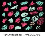grunge ink pen stroke set | Shutterstock .eps vector #796706791