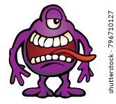 silly alien monster creature... | Shutterstock .eps vector #796710127