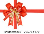 luxury satin red ribbon... | Shutterstock . vector #796715479