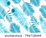 seamless blue watercolor floral ... | Shutterstock . vector #796718449