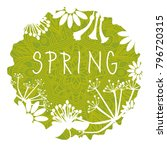 spring green ragged circle with ...   Shutterstock .eps vector #796720315