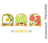 set of three cute different... | Shutterstock .eps vector #796721905