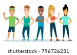 flat style athlete stranding... | Shutterstock .eps vector #796726231