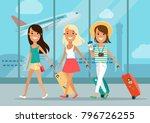 flat happy young girls friends... | Shutterstock .eps vector #796726255