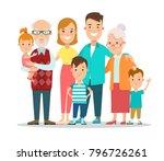 flat happy family portrait... | Shutterstock .eps vector #796726261