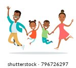flat happy black family with... | Shutterstock .eps vector #796726297