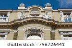 detail of building of bank of... | Shutterstock . vector #796726441
