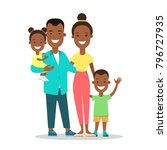 flat black family with children ... | Shutterstock .eps vector #796727935