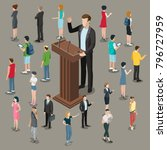 flat isometric politician or... | Shutterstock .eps vector #796727959