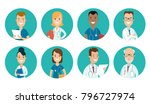 flat male and female doctors... | Shutterstock .eps vector #796727974