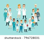 flat male and female doctors... | Shutterstock .eps vector #796728031
