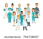 flat male and female doctors... | Shutterstock .eps vector #796728037