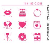 love line icons set. happy... | Shutterstock .eps vector #796732951