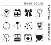 love line icons set. happy... | Shutterstock .eps vector #796732975
