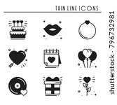 love line icons set. happy... | Shutterstock .eps vector #796732981