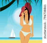 girl on tropical beach vector... | Shutterstock .eps vector #796738861