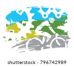 cyclist and bicycle parts.... | Shutterstock .eps vector #796742989