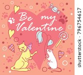 be my valentine. colored layout ... | Shutterstock .eps vector #796754617