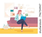 woman on the couch communicates ... | Shutterstock .eps vector #796754947