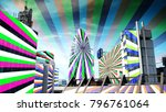 london city with hypnotic... | Shutterstock . vector #796761064