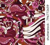 seamless mehndi vector pattern. ... | Shutterstock .eps vector #796772659