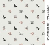 fashion pattern with dont cry... | Shutterstock .eps vector #796782334