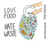stop wasting food color vector... | Shutterstock .eps vector #796796461