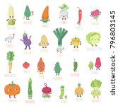 cute cartoon live vegetables... | Shutterstock .eps vector #796803145