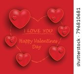 happy valentine day  red orange ... | Shutterstock .eps vector #796810681
