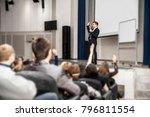speaker speaks at a business... | Shutterstock . vector #796811554