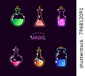 magic bottle icon set. vector... | Shutterstock .eps vector #796812091