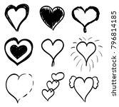 set of nine black hand drawn... | Shutterstock .eps vector #796814185