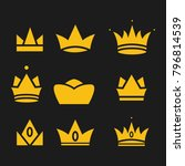 crown set royal king vector... | Shutterstock .eps vector #796814539