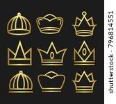 crown set royal king vector... | Shutterstock .eps vector #796814551