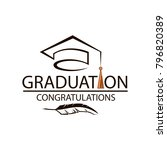 black emblem of graduation cap... | Shutterstock .eps vector #796820389