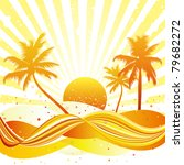 swirling wave design with palm... | Shutterstock .eps vector #79682272