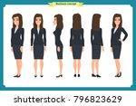 set of businesswoman character... | Shutterstock .eps vector #796823629