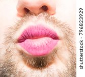 a bearded man's mouth with... | Shutterstock . vector #796823929