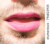 a bearded man's mouth with... | Shutterstock . vector #796823935